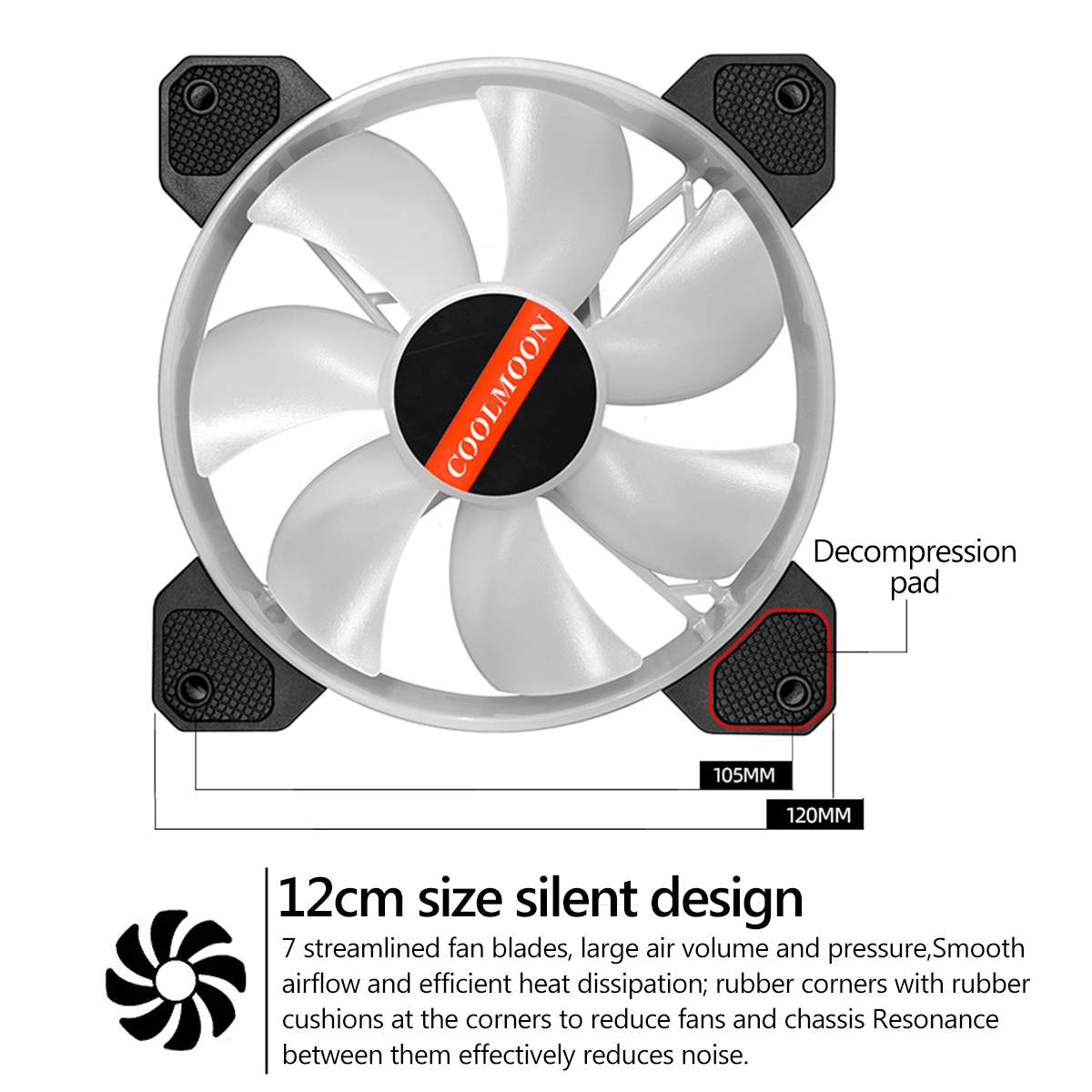 1PC 12cm Double Aperture Multi-Colored Silent LED Computer Case PC Cooling Fan 12V Cooling Fan by Aiyouxi