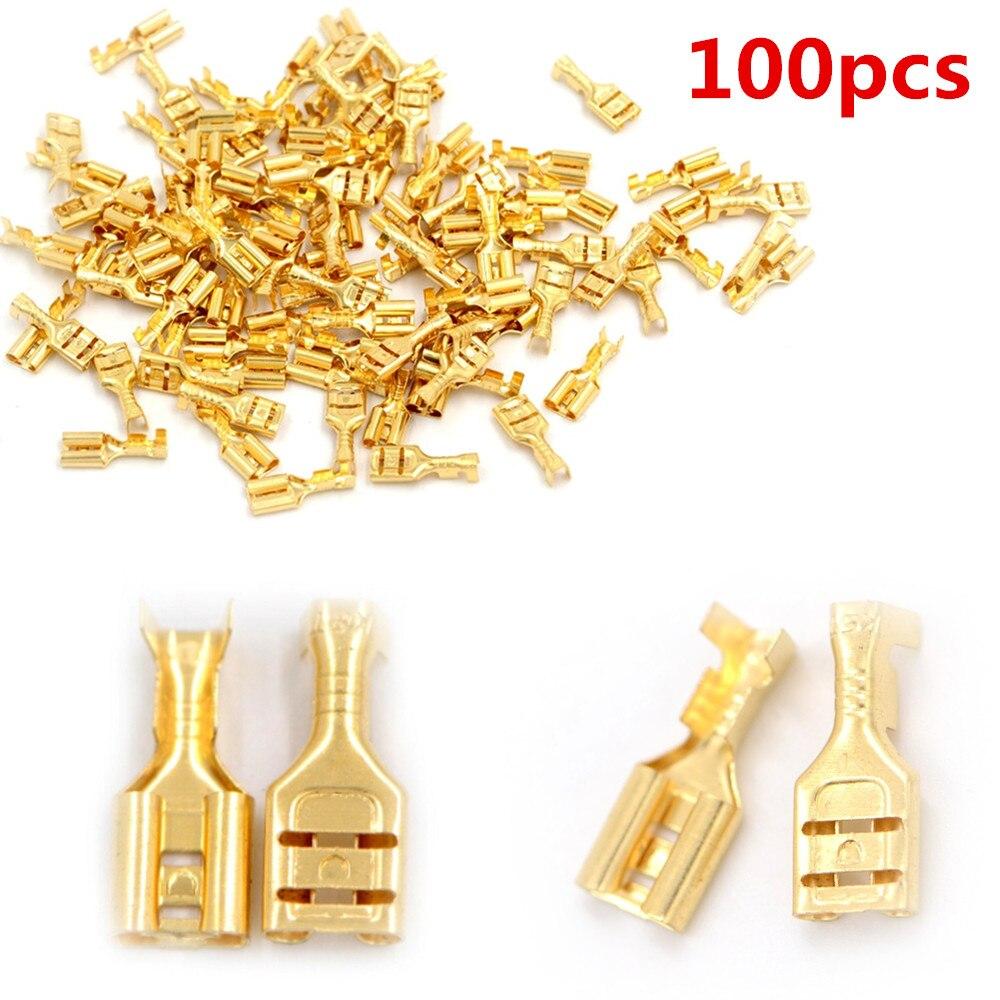 100pcs Gold Brass Car Speaker Electric Wire Connectors Set Female Crimp Terminal Connectors 4.8mm Or 6.3mm