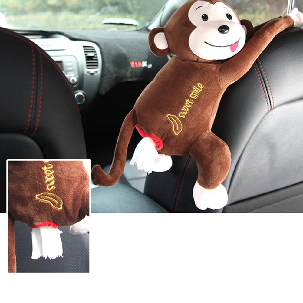 Monkey Tissue Box Red Car Monkey Tissue Dellerogator Holder Plush Monkey Tissue Box for Bedroom Car