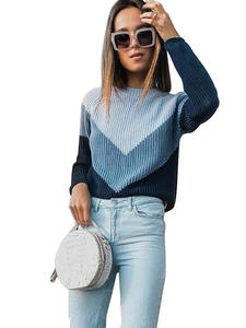 Women Sweater Knitted-Tops O-Neck Long-Sleeve Contrast-Color WOTWOY Autumn Winter Casual