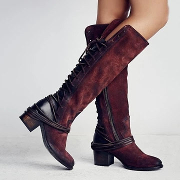 New Women Boots Autumn Winter Women Knee High Boots Casual Vintage Leather Lace Up Riding Boots Low Heel Boots 2019