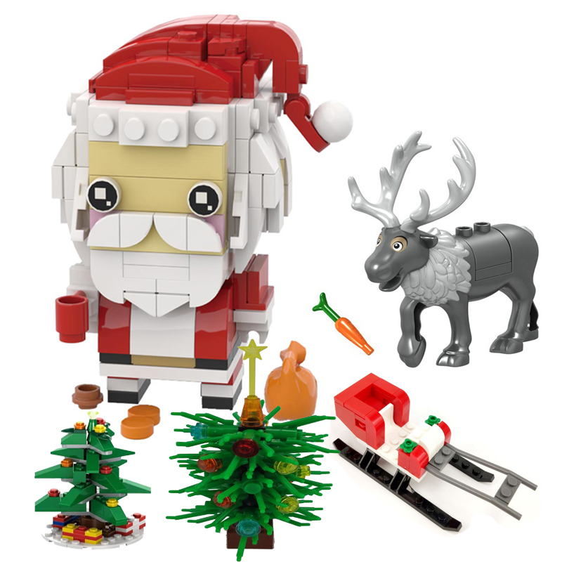 Legoing Christmas Gifts Santa Claus Christmas Tree Sled Elk Animals Bricks Baby Kids Toys Xmas Blocks Assemble Parts Friends Set