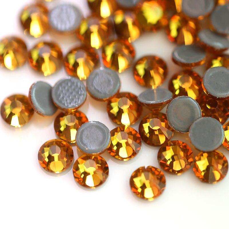 Oro Amarillo Hotfix Hierro En Vidrio Pedrería Cristales Diamante Gemas de reverso plano