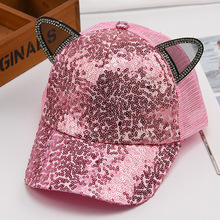 Baseball-Cap Bling-Sequin Snapback Cap Pink Black White Summer Child with Ears Cute