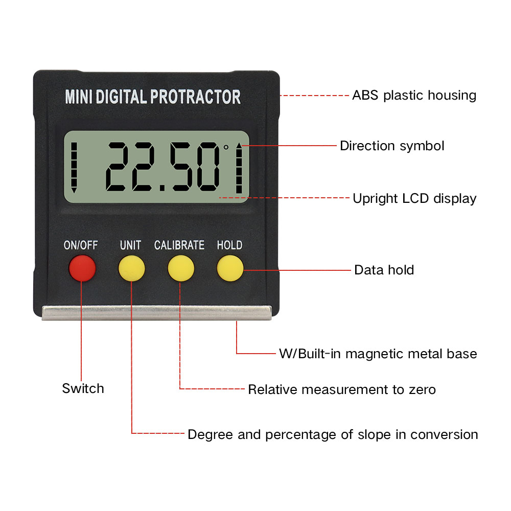 R&D 360 Degree Mini Magnetic Digital Inclinometer Level Box Gauge Angle Meter Finder Protractor Base Measuring Tools