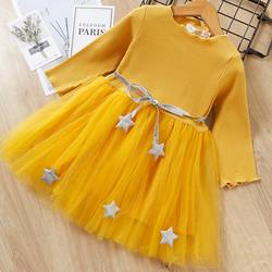 Bear Leader Girls Dress Pentagram Princess Dress Brand Girls Clothes Children Clothing European and American Style Girls Dresses