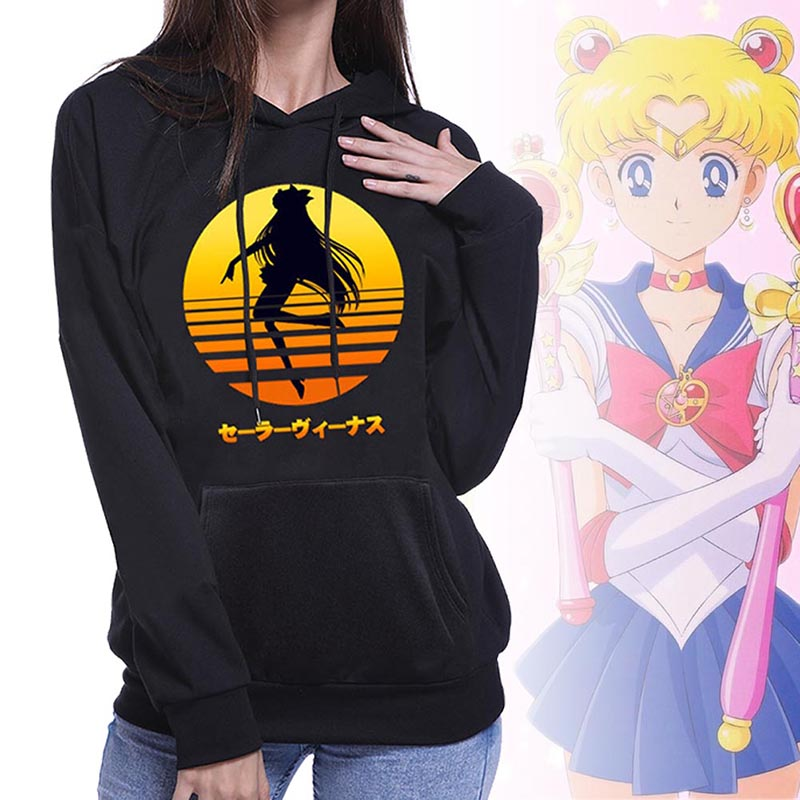 Sailor Moon Cosplay Hoodies Women Anime Hooded Sweatshirts Female Long Sleeve Tops Hoodie