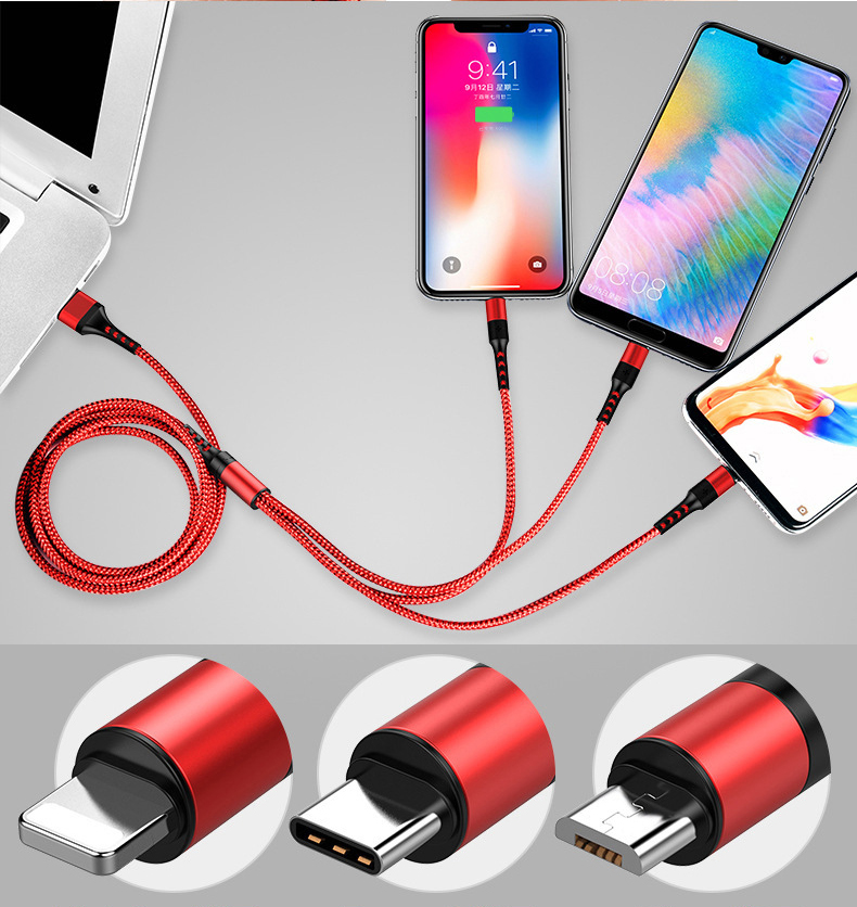 5A 3 in 1 USB Cable for iPhone Charger Fast Charging Micro USB Type C Cable for Huawei Samsung Xiaomi Lightning Cord