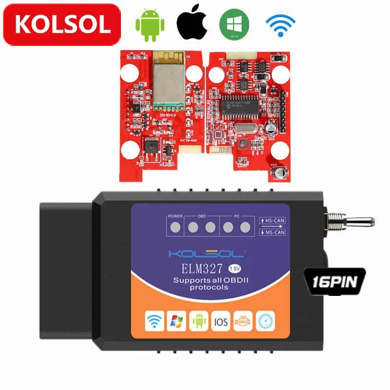 KOLSOL беспроводной ELM327 для Ford ELMconfig CH340 + 25K80 чип HS-CAN / MS-CAN ELM 327 V1.5 OBD2 сканер кода