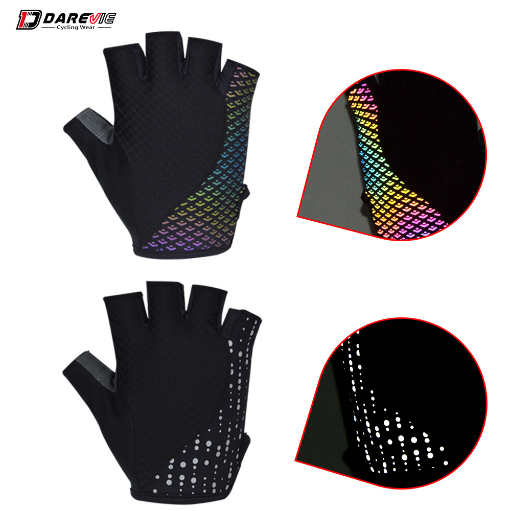 Darevie Reflective Cycling Gloves Half Finger Cycling Gloves Breathable Anti Slip Biking Gloves Safe Night Riding MTB Road Glove
