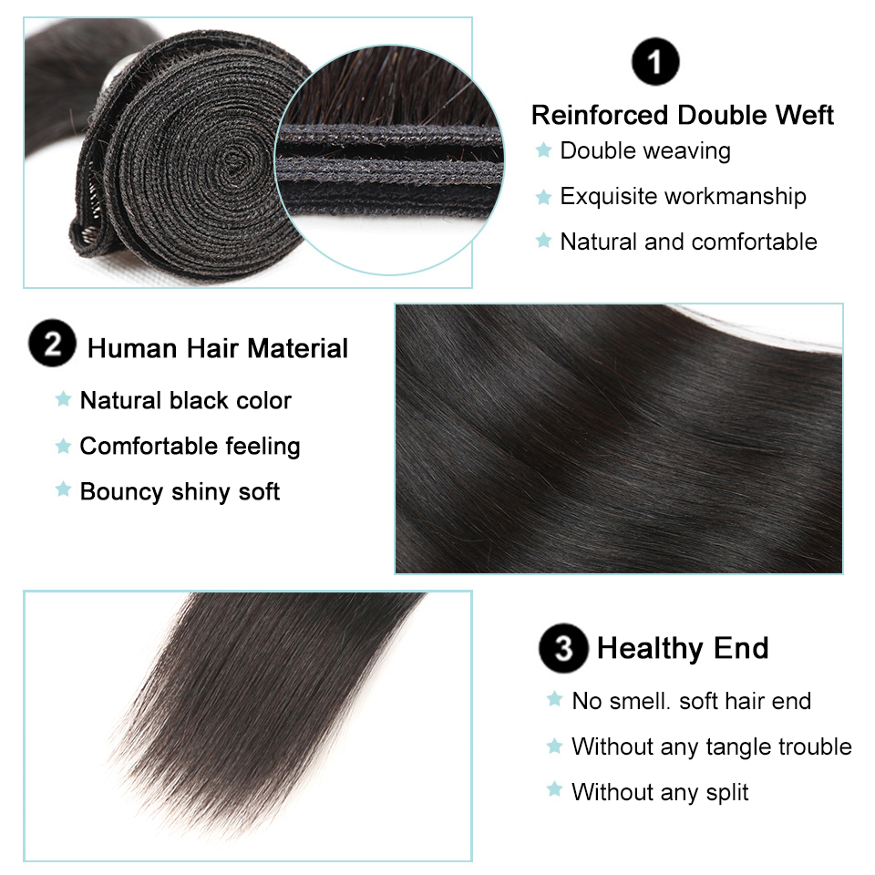 Brazilian Straight Hair Lace Frontal Closure With Bundles Non-Remy Straight Human Hair With Frontal 3 Bundles With Frontal
