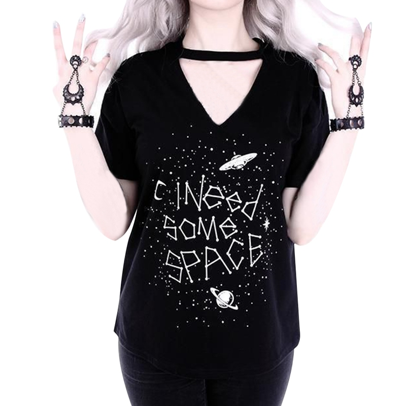 Women Gothic Hollow Tshirt I NEED SOME SPACE Letter Print Tops Female Moon Print Tees Halloween T-shirt S-XL camiseta mujer