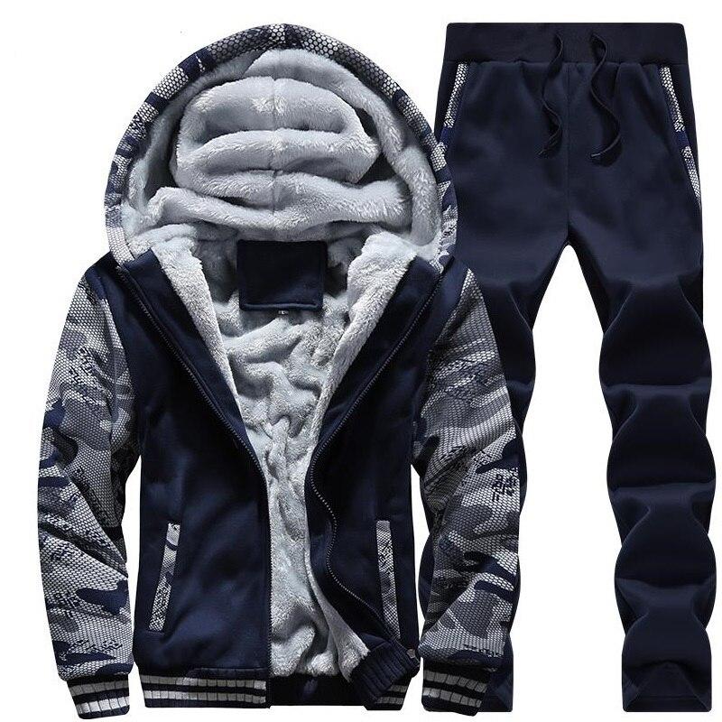 Спортивный костюм для мужчин, Спортивная флисовая плотная брендовая одежда с капюшоном, повседневный спортивный костюм, мужская куртка + штаны, теплая зимняя толстовка с мехом внутри
