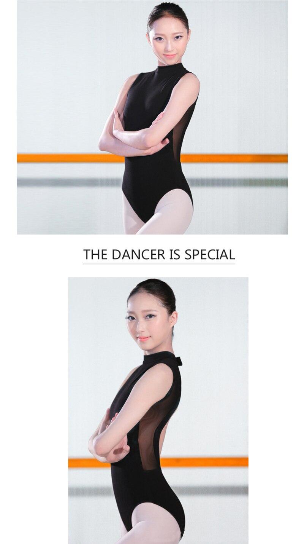 Ballet Dress One-Piece Women Dance Costume Girl Summer Backless Halter Sleeveless Adult Ballet Leotard Stand Collar (13)