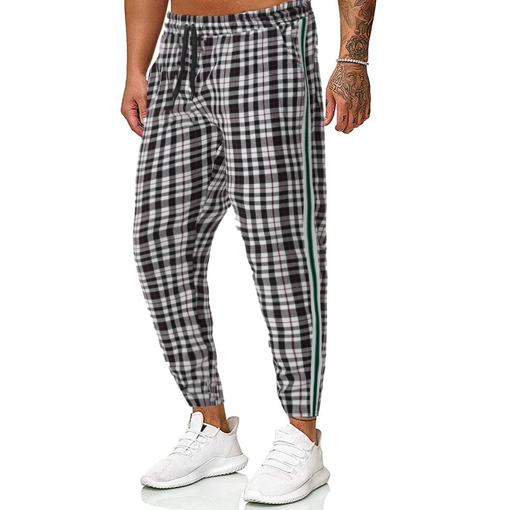 2019 Men Vintage Plaid Casual Pencil Pants Men Elastic Waist Trousers Pockets Leisure Sport Trousers S-2XL