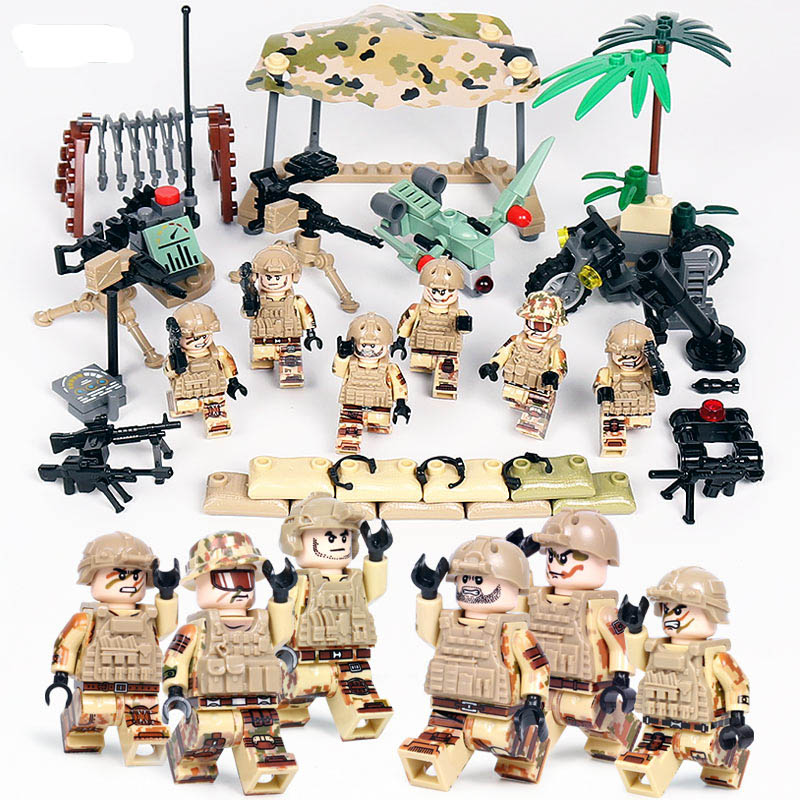 16pcs//set Military Navy Attack Army Building Blocks Bricks Models Figures Toys