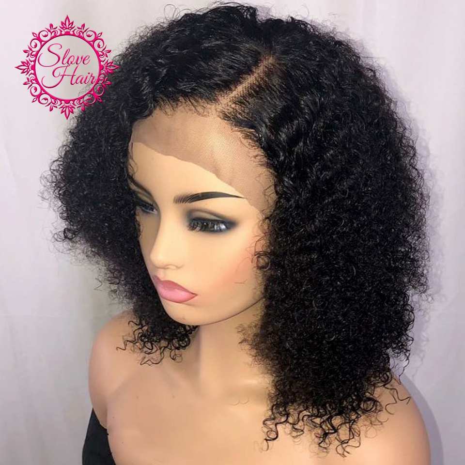 130 Density Short Bob Curly 13x4 Lace Front Human Hair Wigs Remy Brazilian For Women Plucked Natural Color Bleached Middle Ratio