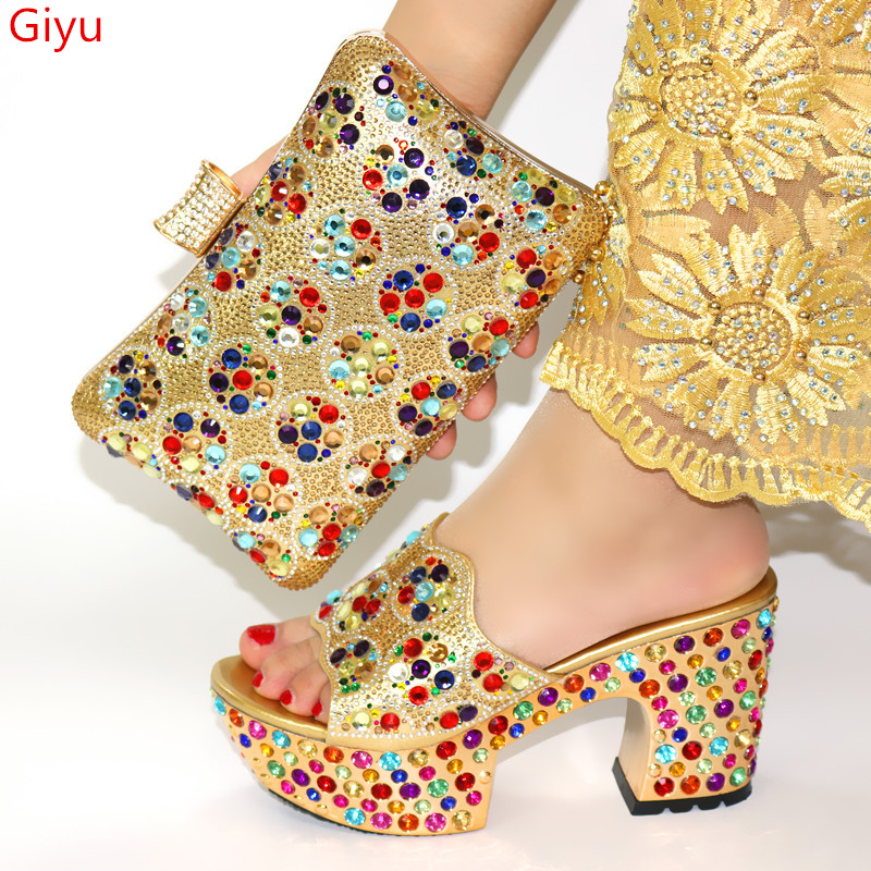 doershow Italian Shoes and Bags To Match Shoes with Bag Set Decorated with Rhinestone title=