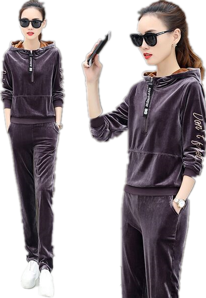 New Womens Velour Velvet Ladies Hooded Long Sleeve Loungewear 2PCS Tracksuit Set