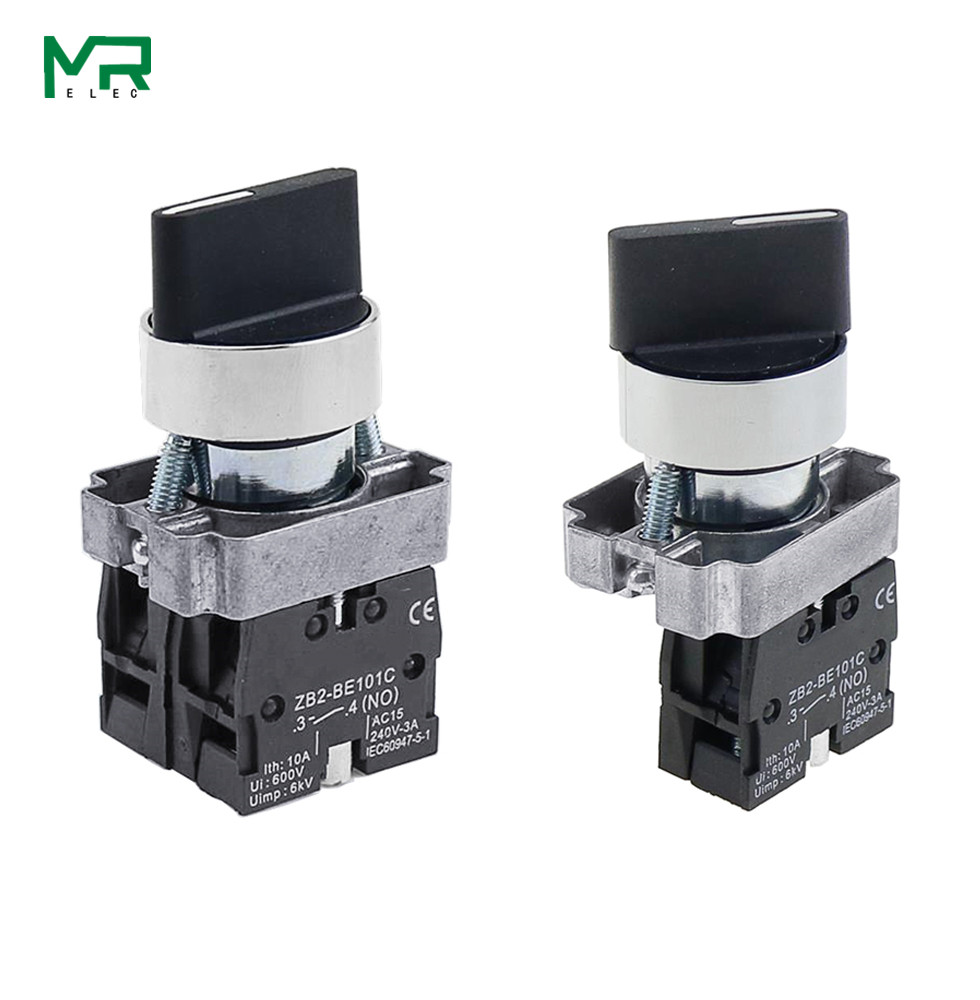 22mm XB2-BD21 BD23 BD25 BD33 BD45 BD53  1NO/2NO/1NO1NC 2/3 position Self locking / self resetting selector  Knob switch
