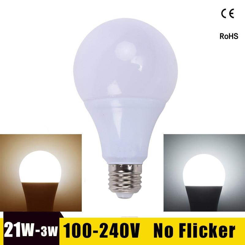 E27 LED Bulb 21W 18W 15W 12W 9W 6W 220V 110V Lampada Ampoule LED Lamp Bombillas High Power LED Screw Light Bulb for Home