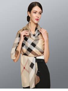 Women Luxury Shawls Foulard Scarves Long-Silk Soft Bubery Plaid-Design European-Brand