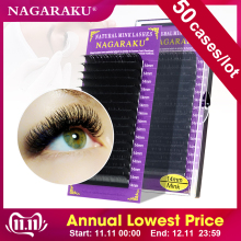 NAGARAKU 50-Cases/Lot 16-Rows Mink-Eyelashes Cilios Premium Maquiagem
