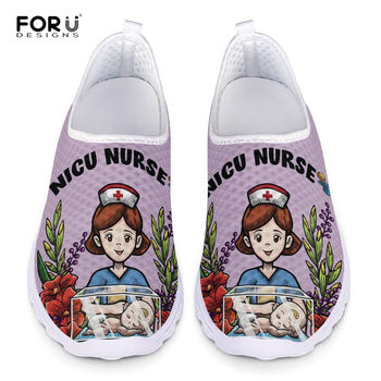 FORUDESIGNS Women Purple Tops Mesh Slip On Flats Cute Cartoon Nicu Nurse/Doctor Design Ladies Light Loafers Summer Femalel+Shoes