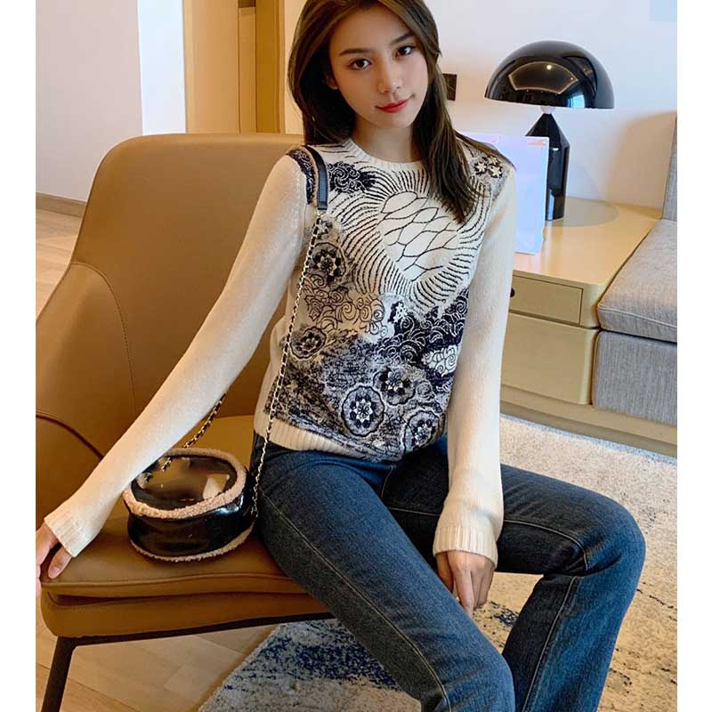Cosmicchic 2019 autumn winter women cashmere Pullover Long Sleeve O Neck Embroidery Sweater Fashion Runway Designer Sweater