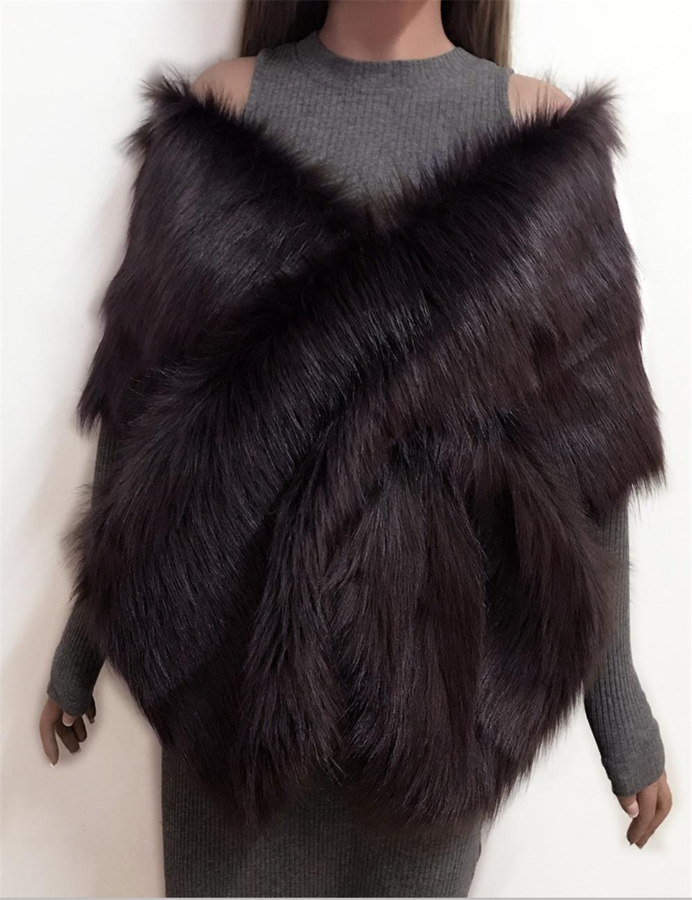 The autumn and winter new imitation fur big cape neck scarf multi-color joker scarf bride dress cross cape (11)
