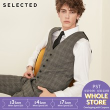 SELECTED New Man Stitching Lattice Business Casual Vest Waist S|418334501(China)