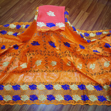 Lace-Fabric African Bazin Dress Getzner Orange High-Quality 2yards/Lot Riche for 5