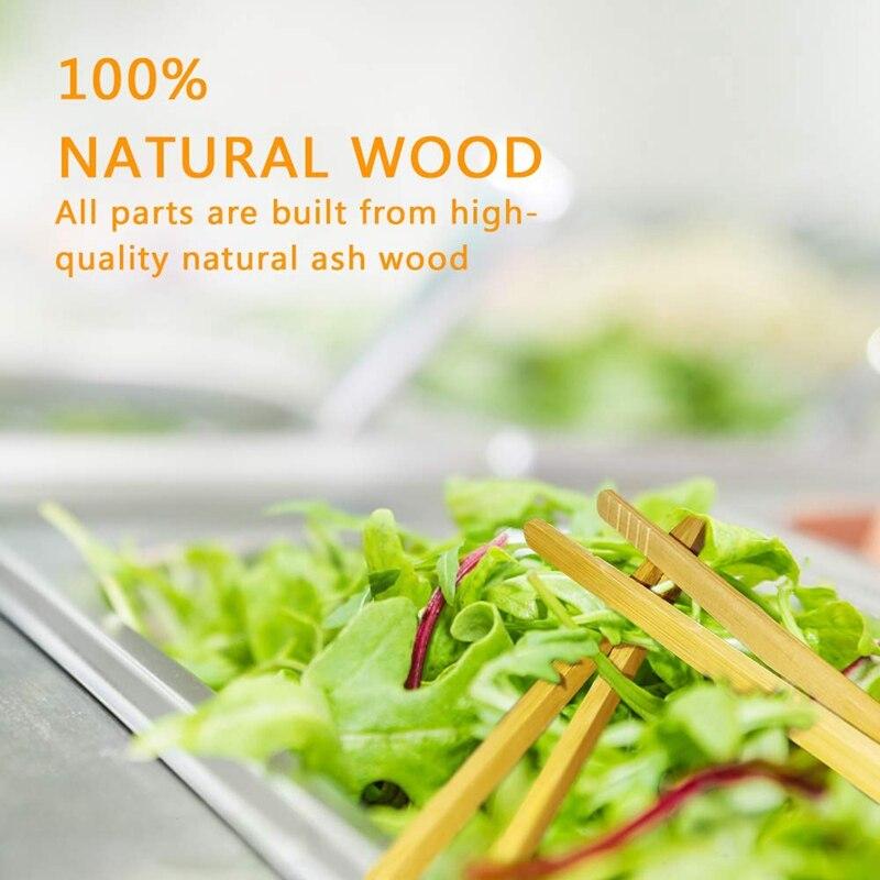 Angoily 10 Piezas Pinzas para T/é de Bamb/ú Pinzas para Servir Naturales Pinzas para Tazas de T/é Pinzas para Tostar Utensilios de Cocina Herramientas