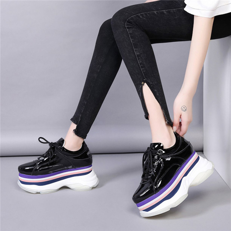 New 2020 Spring Creepers Pumps Women Shoes Patent Leather Thick Bottom Women Wedges High Heels Shoes Casual Lace Up Ladies Pumps (14)