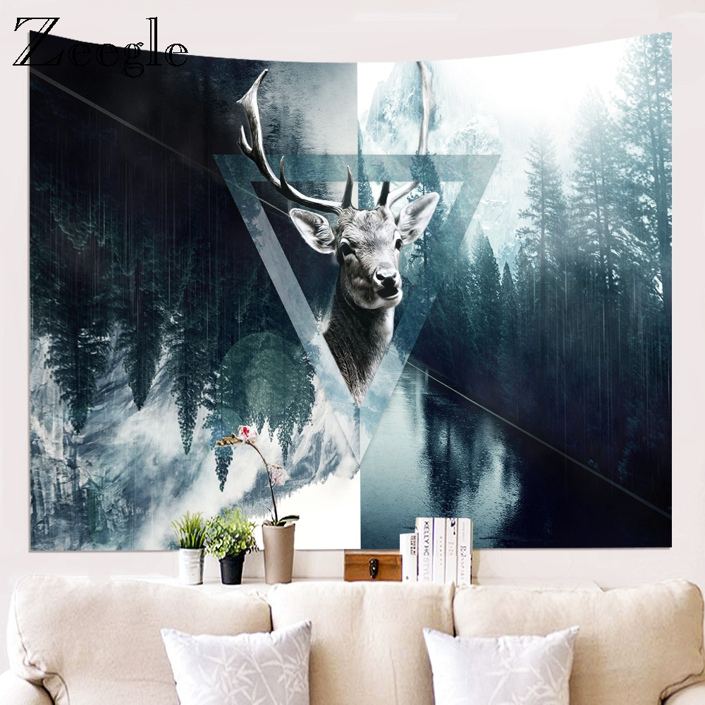 Zeegle Printed Wapiti Wall Hanging Tapestry Beach Towel Living Room Bedroom Hanging Home Decor Beach Mat Picnic Blanket