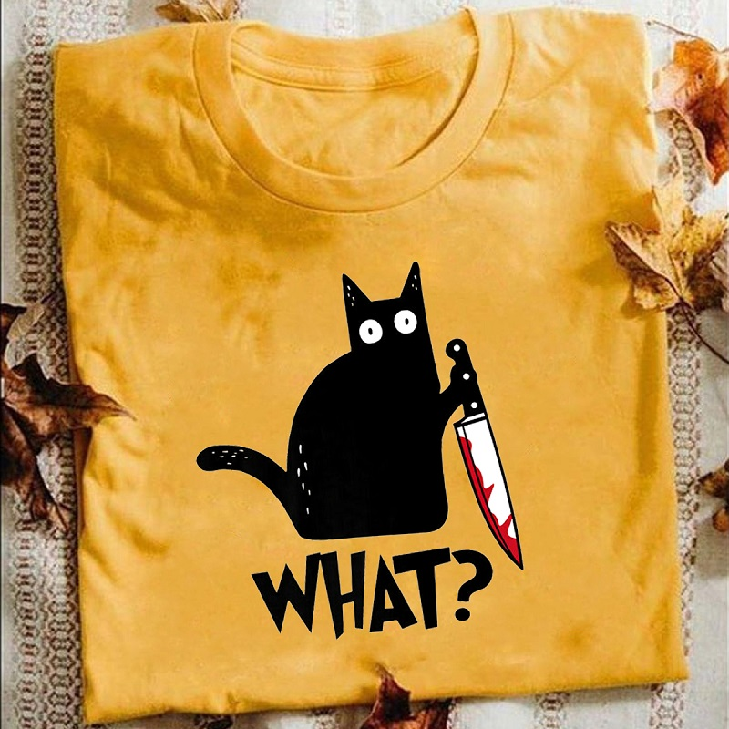 ENVMENT Cat What T Shirt Murderous Cat With Knife Funny Halloween Gift T Shirt Unisex Cotton T shirts for men women short sleeve
