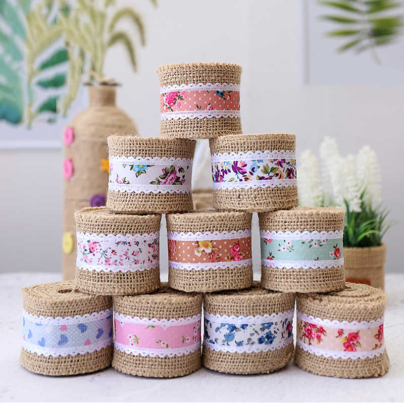 2m*5cm Jute Burlap Ribbon Rustic Vintage Wedding DIY Craft Decoration Lace Jute Cloth Roll Merry Christmas Home Party Supplies