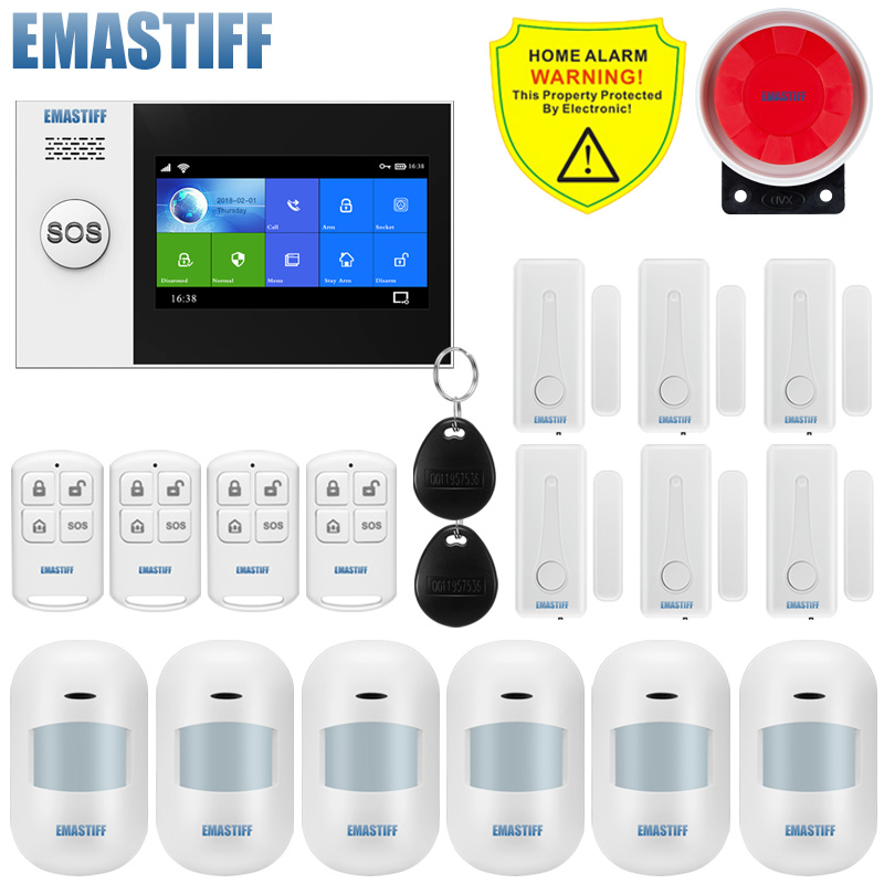 Alarm Wire Security-Alarm-System Motion-Detector Screen-Wifi App-Control Burglar W4B title=