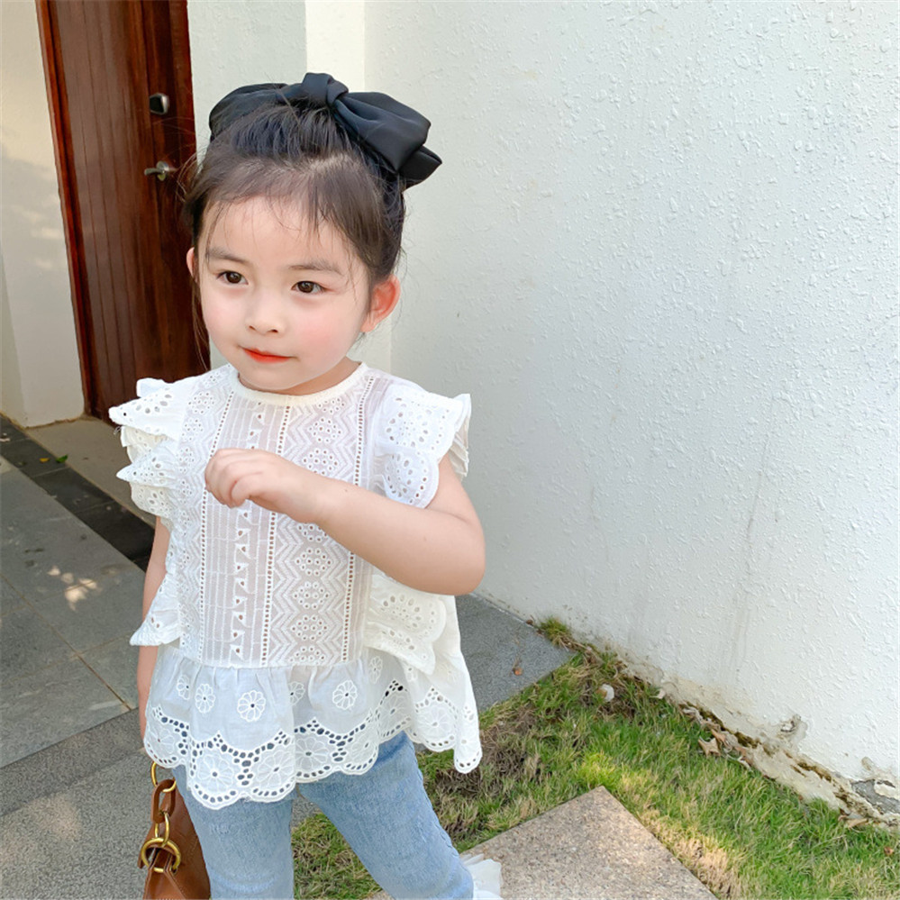 2020 Summer Girls Blouse Fashion Loose Hollow Shirt Children/'s Short Sleeve Lace Shirt Girls Clothes AA4635