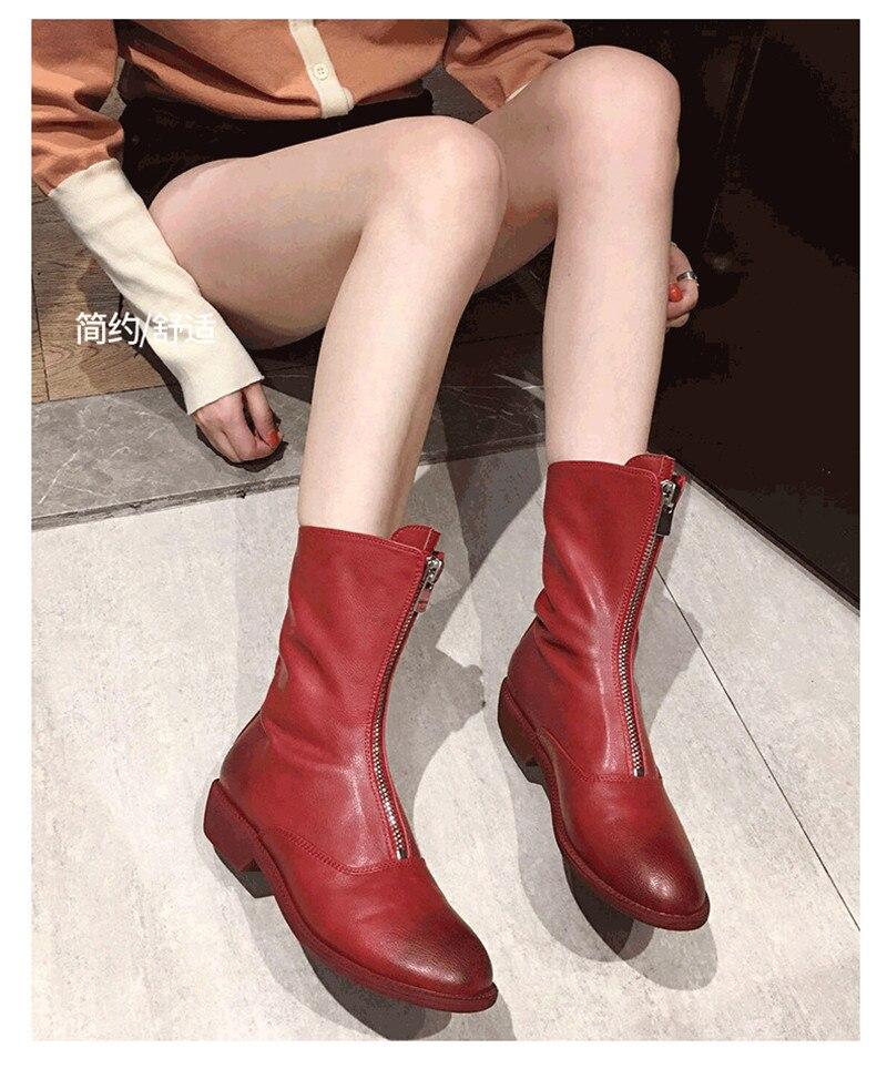 Winter Autumn Women Ankle Boots Punk Front Zipper Ladies Shoes PU Leather Boots Women Low Heels Female Shoes Pump Botas Mujer (1)