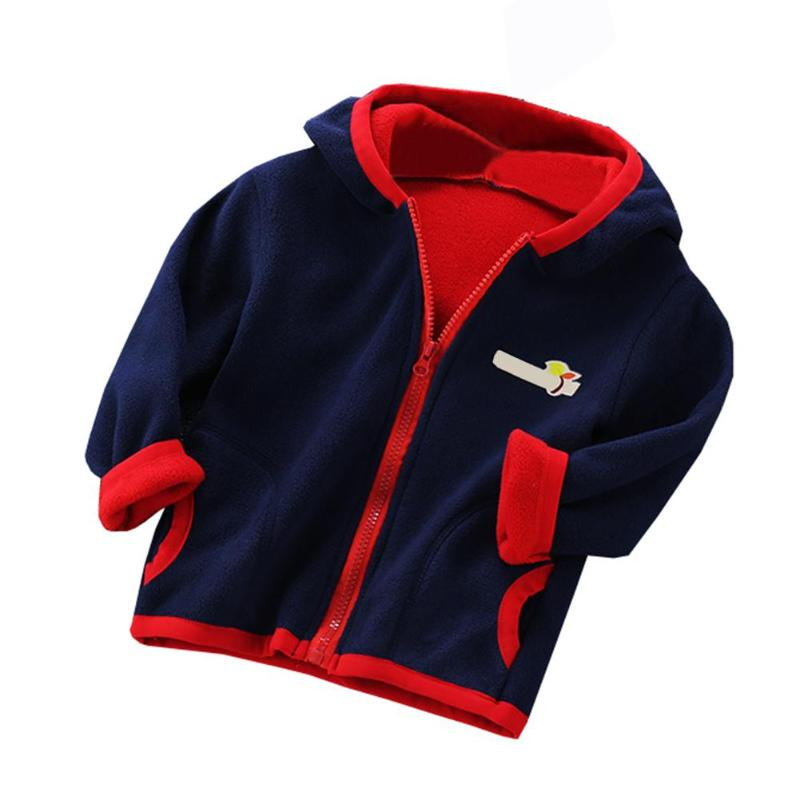Autumn Winter Splicing Pocket Color Outwear Boys Kids Girls Zipper Hoodies Coat
