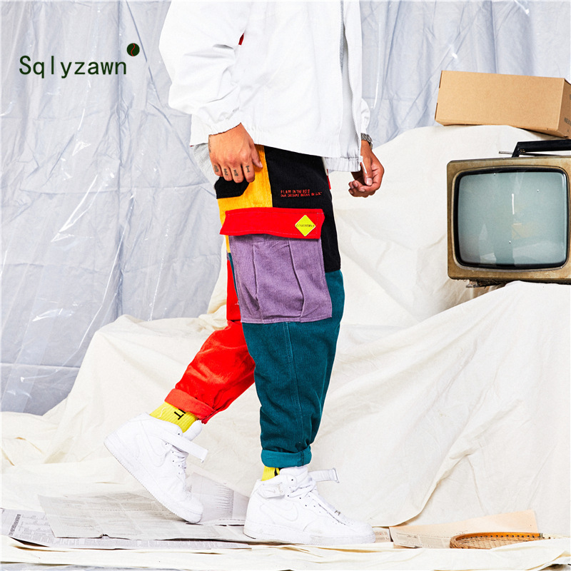 Jogger Sweatpant Trousers Harem Color-Block Patchwork Plaid Streetwear Corduroy Women title=