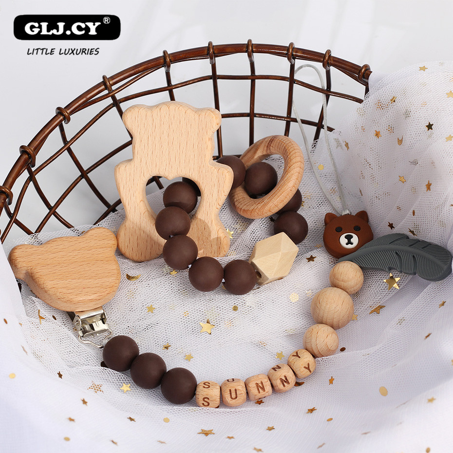 Baby personalized Rattles Set Animal Elk Amigurumi Elephant Teether Wooden Pacifier clip holder ChainBPA Free Nursing Toys