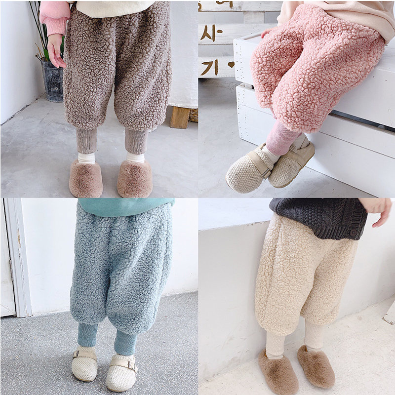 Children Winter Loose Pants Boys Girls Plus Velvet Casual Winter Autumn Kids Thick Fashion Elastic Waist OuterwearTrousers