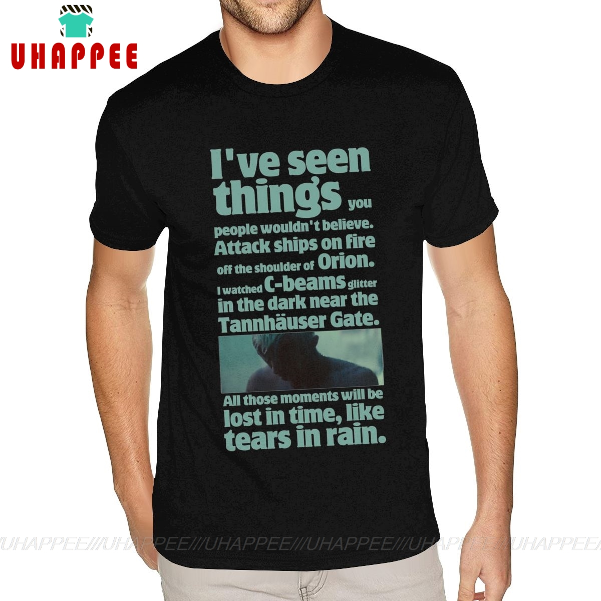 Cotton Blade Runner Like Tears In Rain Graphic T-shirts T Shirts Mens Small Size Black Shirts