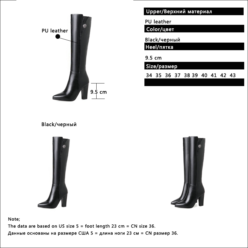 QUTAA 2020 Women Over The Knee High Boots Ashion Pu Leather Square High Heel Pointed Toe Women Motorcycle Boots Size 34-43