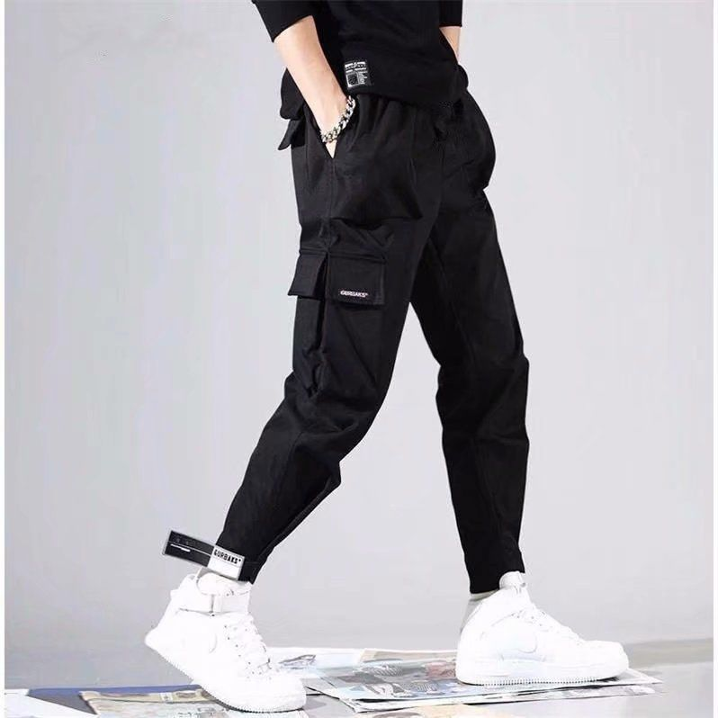 Men's Side Pockets Harem Pants 2020 Autumn Hip Hop Casual Ribbons Design Male Joggers Trousers Fashion Streetwear Pant Black title=
