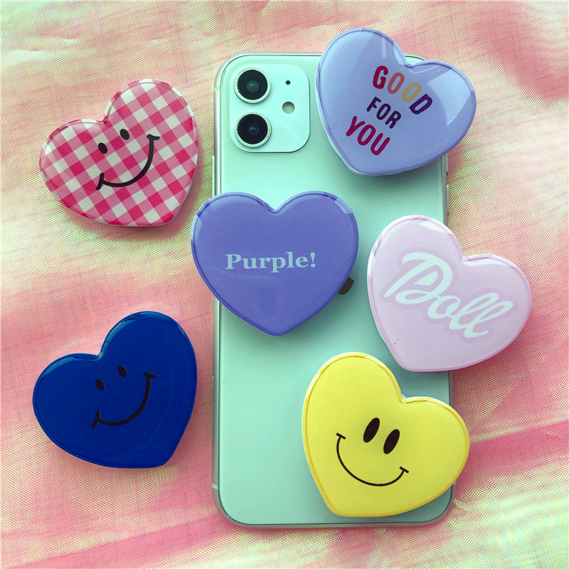 Phone-Holder Expanding-Stand Grip Phone-Grip-Socket Heart-Shape Love-Pattern title=