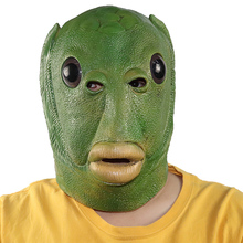 Mask Fish-Head-Mask Green Headgear Cosplay Funny Halloween Adult Kids Unisex for Face-Cover