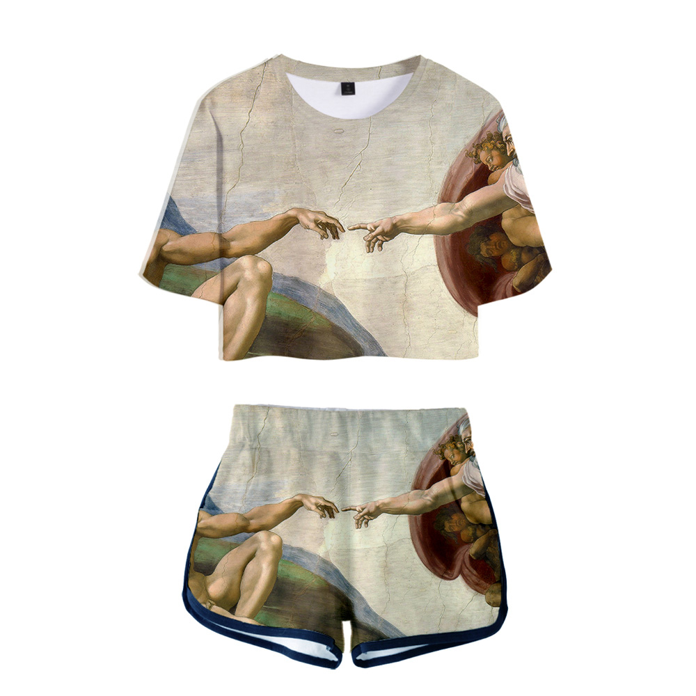 Womens Autumn Casual Navel Top Shorts  World famous painting art Two Piece Set Outfits Short Sport Jumpsuit Sets